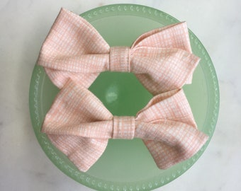 Peach Blush Lined Fabric Hair Bow Clip or Headband
