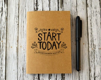 Mini Notebook, Small College Journal, Back to School, Motivational Quote Book, Illustrated School Book