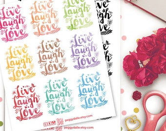 Live Laugh Love Watercolour Planner Stickers |  Erin Condren | Life Planner | Kikki K | Filofax | Floral | Inspirational | Quotes