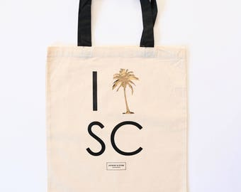 South Carolina Palmetto Bachelorette and Wedding Guest Canvas Tote Bag, Party Favors