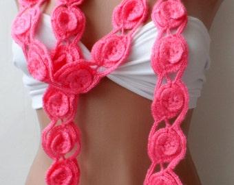 Mother's day gifts, Crochet necklace scarf, Lariat scarf, Orange scarf, Handmade scarf, Scarflette, summer, Flower scarf, crochet scarf