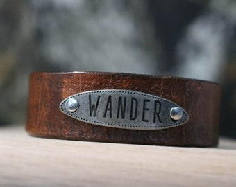 leather WANDER bracelet/wristband