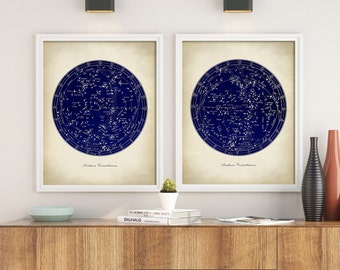 STAR MAP Astronomy  SET of 2, Astronomy set, Constellations Chart, Stars Print, Astronomy Room Decor, Astronomy Poster, Celestial Wall Art