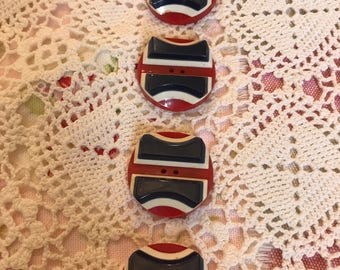 Vintage 1980's/ red, white and Blue buttons
