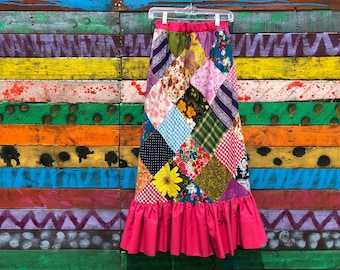 1970s patchwork maxi skirt