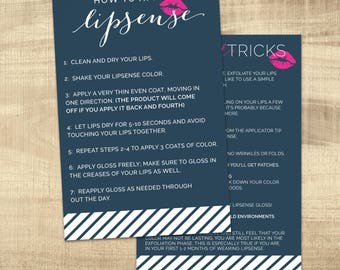LipSense Tips and Tricks Card, LipSense How to apply Card, LipSense Application Card,   4x6 Postcard file - INSTANT DOWNLOAD