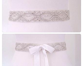 "Sash wedding diamond bridal belt crystal bridal sash rhinestone bridal sash wedding belt,- ""kyle"