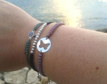 Sterling Silver BUTTERFLY and macrame bracelet. Gift for Yoga Friends, Bridesmaid, Party favors, Friendship bracelet. Choose your color!