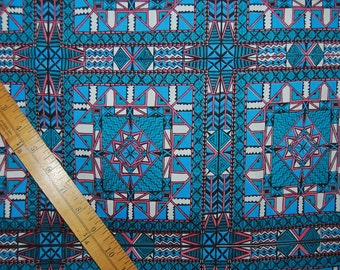 Rare Greenpeace fabric vintage 1970s Cheater Quilt faux quilt blocks teal blue Pacific Northwest Native American indigenous Geometric print