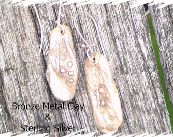 Bronze Metal Clay Drop Earrings