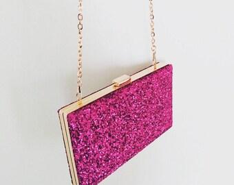 Pink Glitter Box Frame Clutch Bag