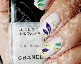 Nail Art Purple and green flowers water decals transfers wraps