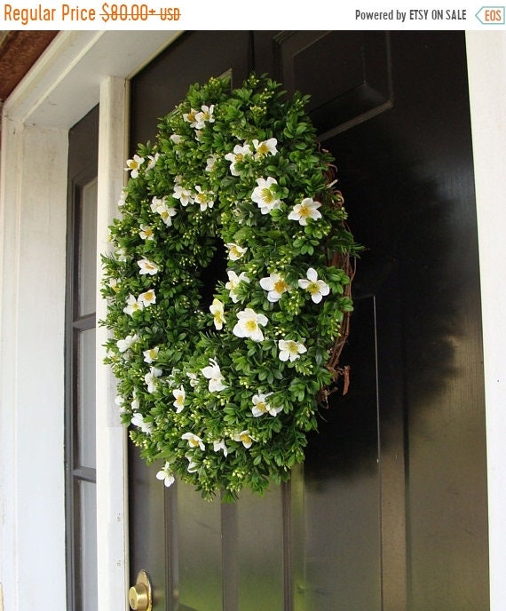 SUMMER WREATH SALE Custom Size Artificial Boxwood Wreath- Spring Wreath- Summer Wreath- Year Round Wreath