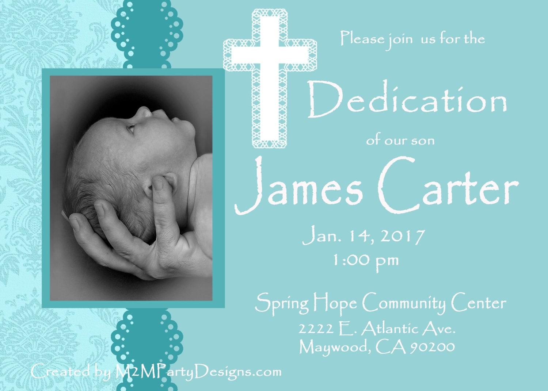 Baby Dedication Invitations Baby Blue Printable Print at