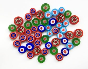 Love MIX 50 pieces of Handmade Millefiori Glass Beads for Mosaic Decoration & Jewellery Making (3-6mm thick, 7-13mm diameter, 50gr)