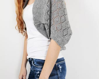 Knit woman sweater Little cardigan sweater little shrug grey sweater
