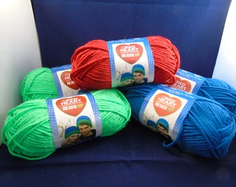 Lot of 5  RedHeart Heads Up Yarn - Various Colors - NEW 106 yds each