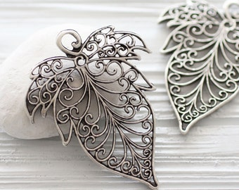 Large filigree silver leaf pendant, filigree leaf, filigree pendant, boho pendant, silver pendants, metal leaf pendant, filigree findings