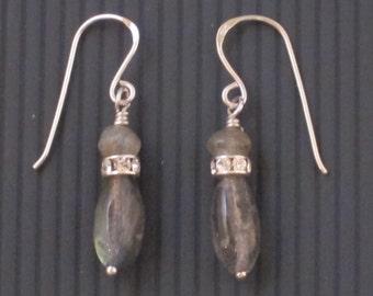 Labradorite and Swarovski Crystal Dangle Earrings