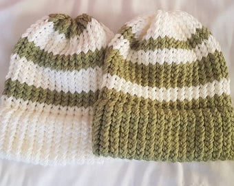 Green and White Striped hats