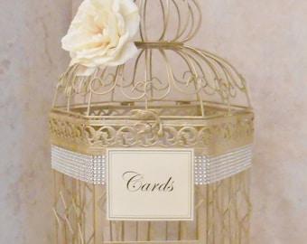 Champagne Gold and Blush Wedding Card Box Wedding Card