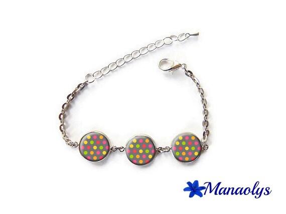 Bracelet multicolored dots, colorful bracelet, round glass cabochons, silver chain