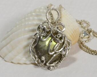 Labradorite Pendant Wire Wrapped Jewelry  Handmade Jewelry Birthstone Jewelry