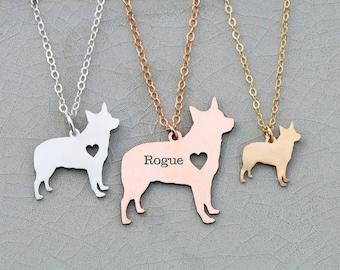 Australian Cattle Dog Necklace • Blue Heeler • Dog Jewelry • Pet Mom Gift • Custom Engraved Pet • Pet Loss Charm Pet Shelter Gift