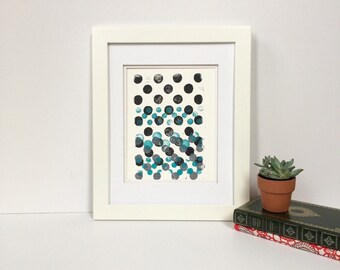 Teal, soft grey, and black gradient dots art print 9x12 monoprint