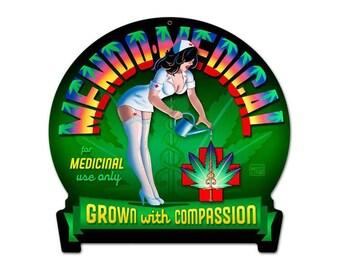 "Mendo Medical Marijuana Metal Sign 16"" x 15"""