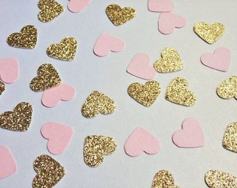 Gold and Pale Pink Heart Confetti, Wedding Reception Decoration, Table Scatter, Glitter Confetti, Bridal Shower Decor