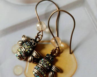 Honey Bee Crystal Charm And Glass Bead Dangle Earrings  Gift For Her