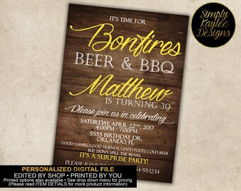 Beer, BBQ, and Bonfires Adult Birthday Invitation