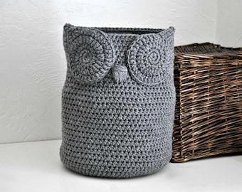Large Grey Owl Basket Towel Bin Toy Caddy Woodland Baby Nursery Decor Crocheted Holder Home Organizer