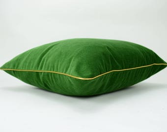 green and gold velvet pillow // emerald green and gold // green velvet pillow // gold trim pillow