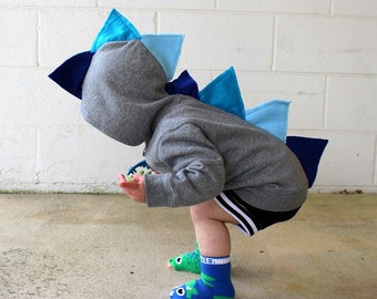 Dinosaur hoodie / baby boy dinosaur hoodie / dinosaur 1st birthday shirt / dino baby shower gift / blue dinosaur / kids dinosaur costume