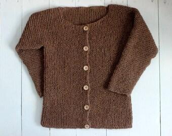 Alpaca 100%, Chunky Sweater, Brown Women's Cardigan, Soft Wool Sweater, Hand Knitted Sweater, Oversized Women's Cardigan, Wool Knitwear