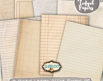 OFFICE PAPERS 10 ledger digital collage sheets journaling scrapbook journal bookmaking pages stationery instant download printable  - pp357