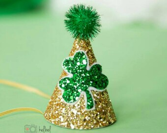 Mini St. Patrick's Day Glittery Birthday Party Hat First Birthday, baby, Birthday, cake smash, 1st birthday, baby girl birthday