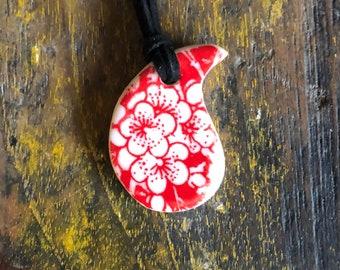 Porcelain teardrop pendant - red blossom