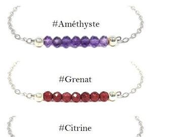 Bracelet Aigue-marine Argent 925 ou Or gold filled – pierre gemme (semi précieuse) au choix