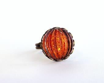 Orange Glass Ring Vintage Domed Glass Glitter Nail Polish Jewelry Tangerine Orange Adjustable Ring
