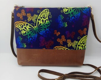 Butterfly Crossbody bags Handbag Everyday Bag Genuine Leather Cotton Cross body bg Womens gift idea Small Crossbody bag Gift for her purses