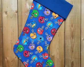 Football Helmets Quilted Christmas Stocking