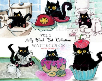 Watercolor Clipart Vol. 1 Silly Black Cat (Mr.Bridges,Cat) Toilet Litter Cupcake Donut Phone ORIGINAL paint Planner Digital INSTANT DOWNLOAD