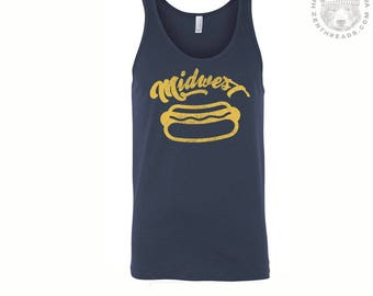 Unisex MIDWEST Hot Dog Mens Tank Top -hand screen printed xs s m l xl xxl (+ Colors) workout