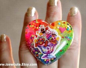 Ice Cream Sundae Ring, Gift for Her, One of a Kind Jewelry, Resin Ring, Chunky Resin Ring, Rainbow Glitter Resin Heart Ring, Ooak Resin Ring