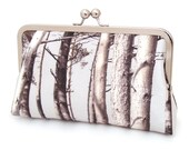 Silk clutch purse, tree woodland bag, wedding, bridesmaid, SCOTS PINE