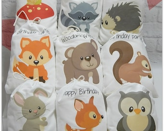 "Party Favor Bags Forest Woodland Animals For Baby Shower and Birthday's for treats and gifts Personalized 5"" X 7"" or 6"" X 8"" Qty 9"