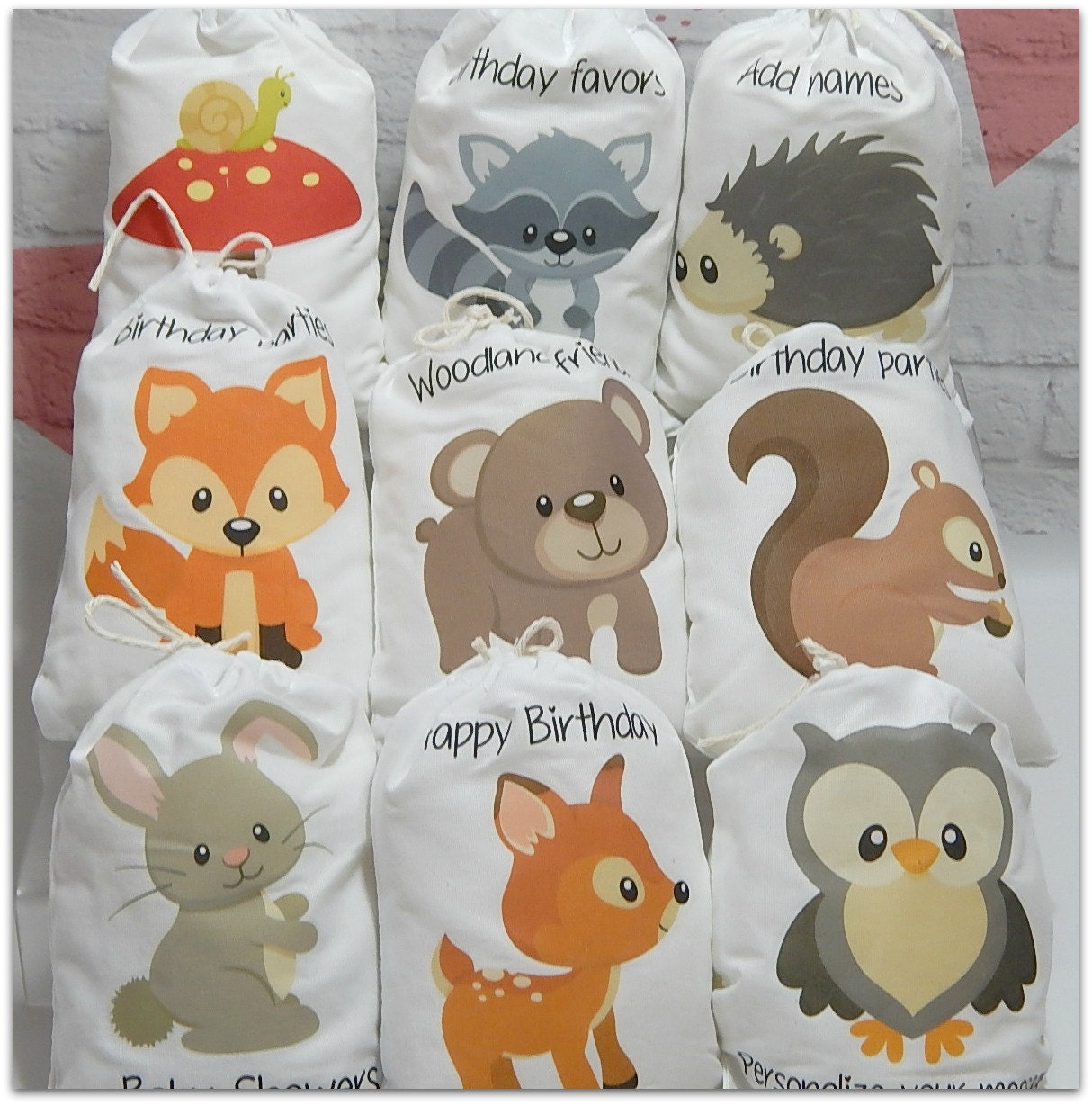 Party Favor Bags Forest Woodland Animals For Baby Shower And
